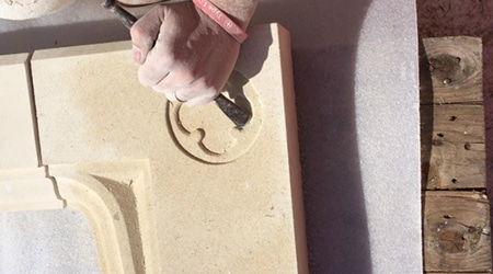Carving Natural Stone Fireplace
