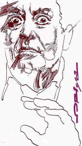 Disegno ritraente Carmelo Bene, realizzato da Graziano Origa