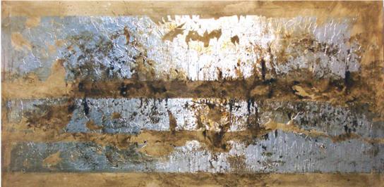 Cuadro abstracto ocre y plata en Portobellostreetes