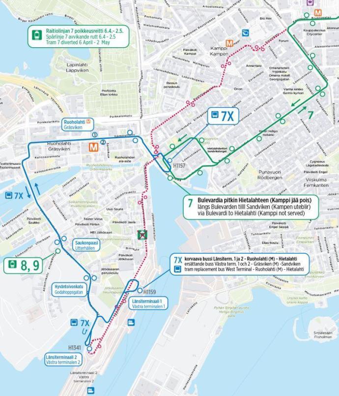 Linjan 7 poikkeusreitti sekä korvaava bussi 7X 6.4. – 2.5.