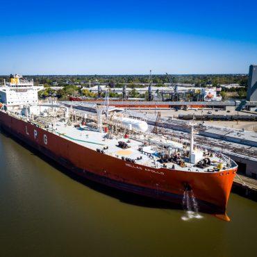 Docked ship in the Port of Stockton