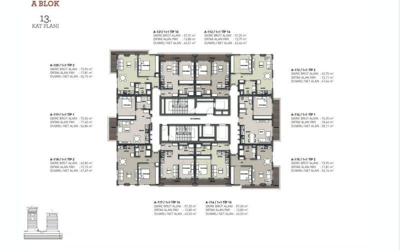 صور مخطط  سيبا سويتس (Seba Suites) ، كاغتهانة ، اسطنبول | بورتوكوزا العقارية