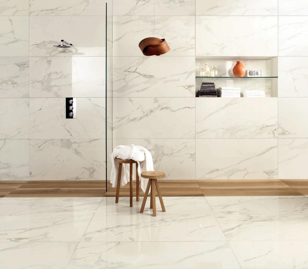 Carrelage de salle de bain marbre blanc vein ALBA Calacatta Oro 1  Porto Venere
