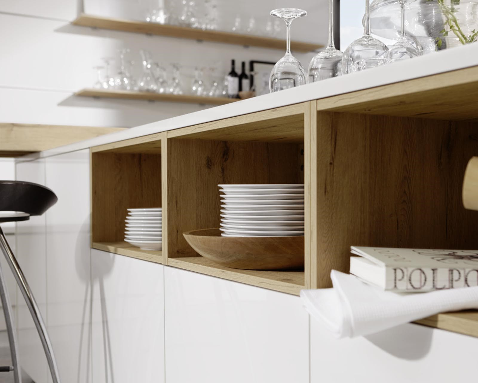 Cuisine en bois et stratifi blanc brillant LEGNO 59C  Porto Venere