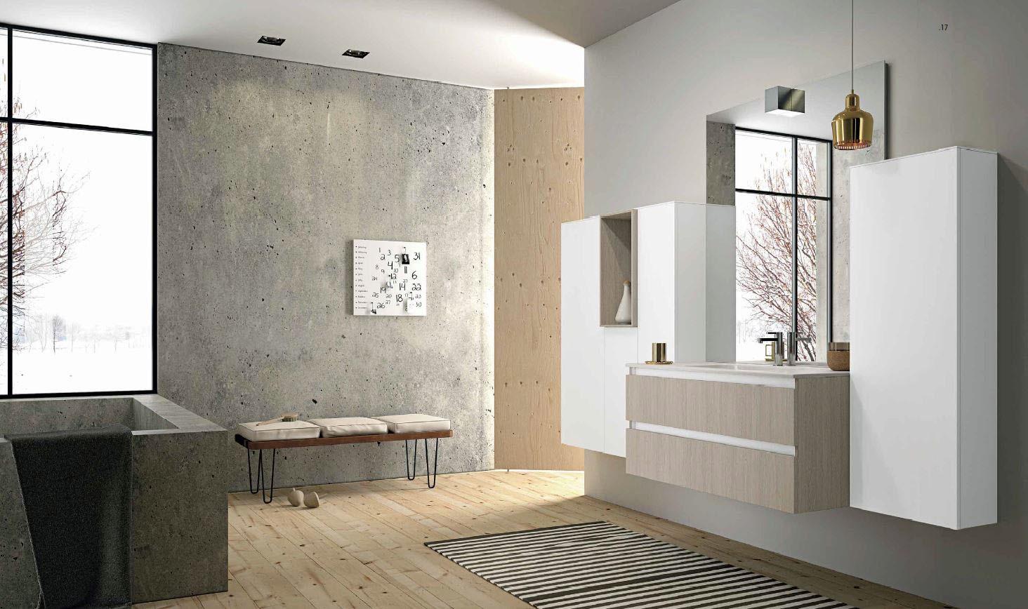 Meuble de salle de bain suspendu blanc et bois clair MB2Duomo Composition 2  Porto Venere