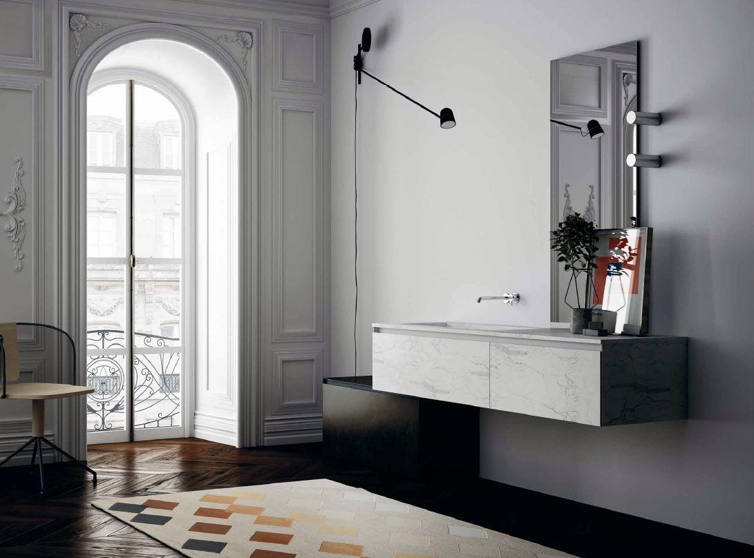 Meuble de salle de bain suspendu en marbre blanc MB2TGR Composition 6  Porto Venere