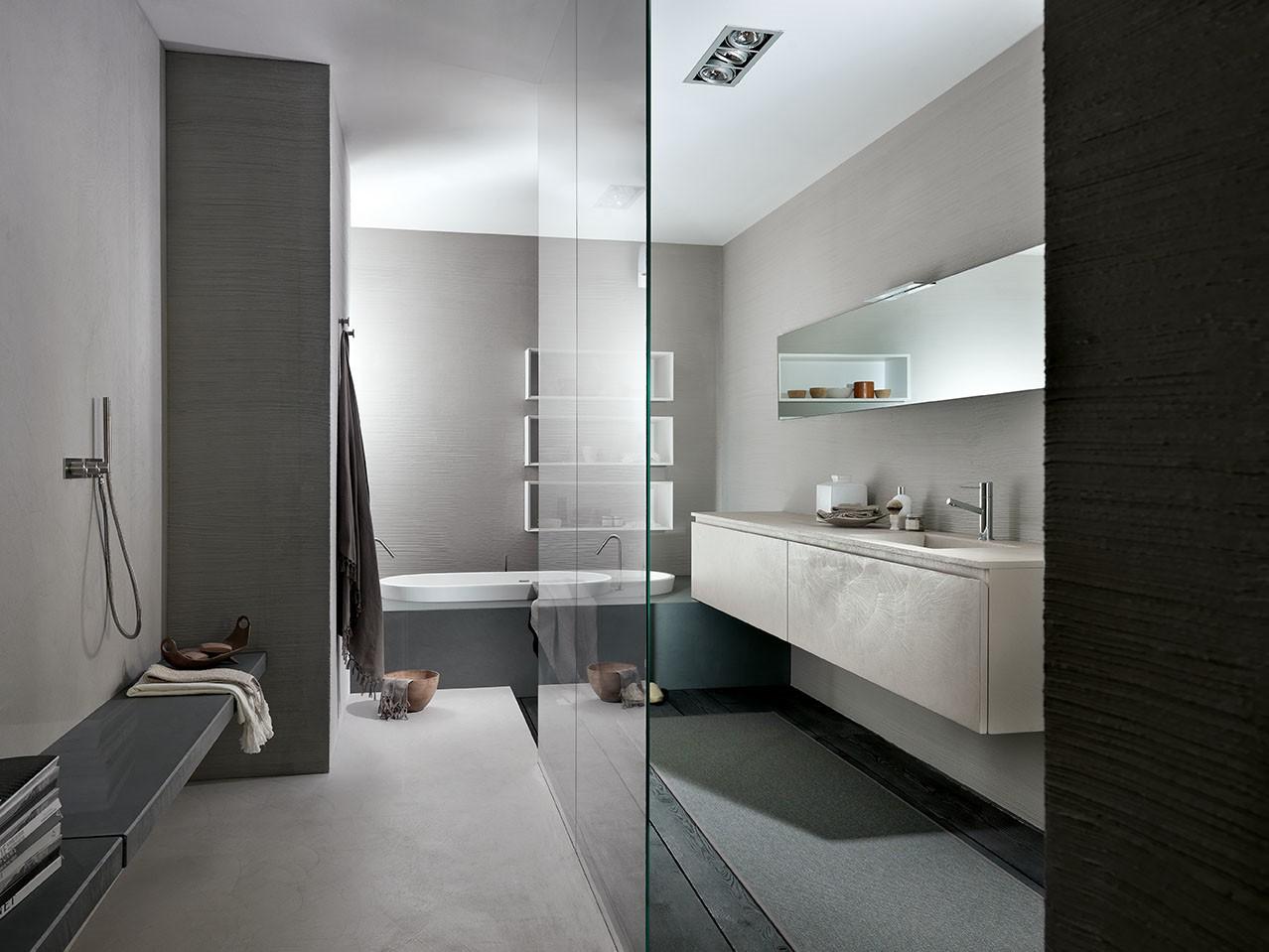 Meuble de salle de bain en rsine aspect bton avec vasque intgre MB3TWENTY Composition 1