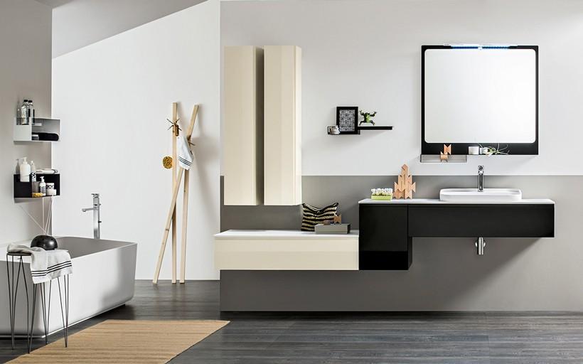 Meuble de salle de bain composable en laque brillante noire et ivoire MB6HITO Composition 1