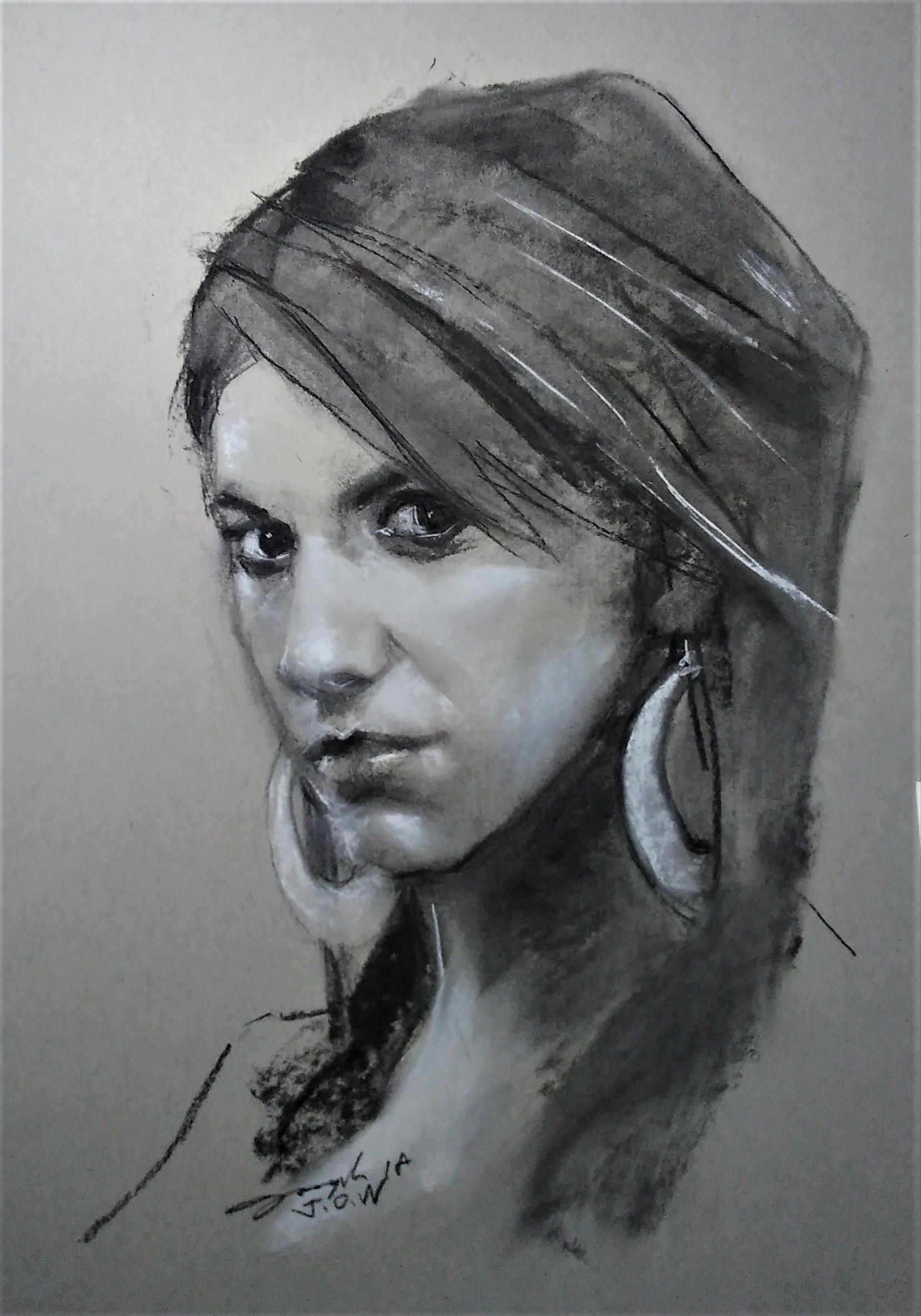 Charcoal on paper, 16 x 20
