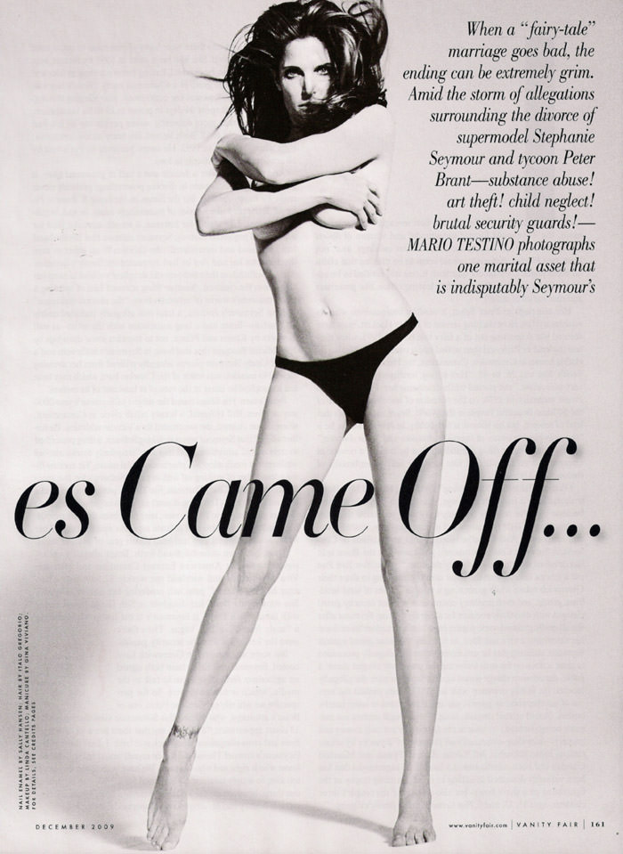 Stephanie Seymour photographed by Mario Testino in 'First, The Gloves Came Off... ' for Vanity Fair, December 2009 2
