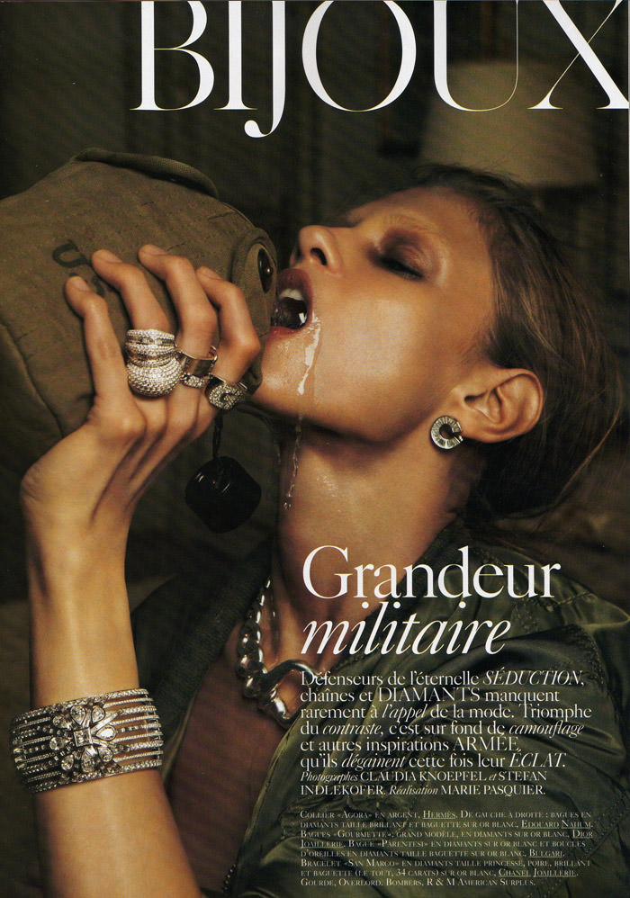 "Anna Selezneva photographed by Claudia Knoepfel & Stefan Indlekofer in ""Grandeur Militaire"" for Vogue Paris Bijoux, March 2010 1"