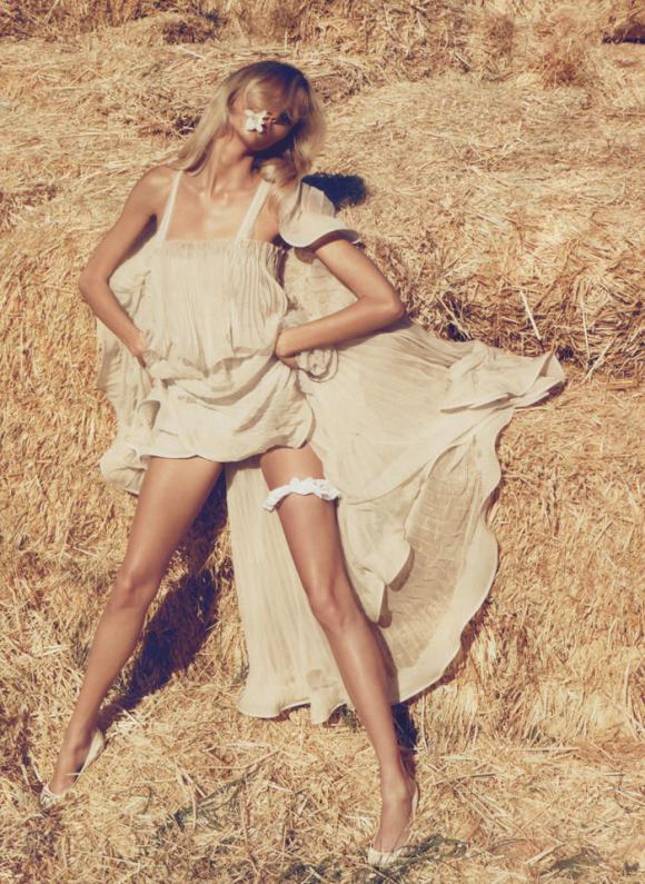 """Anja Rubik photographed by Camilla Akrans in """"The Farmer's Daughter"""" for Vogue Nippon, March 2010 6"""