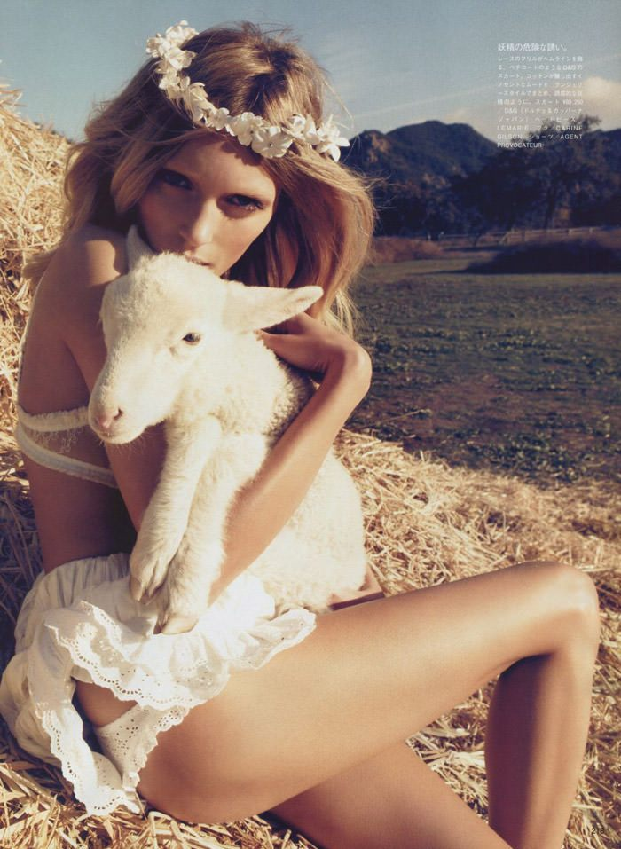 """Anja Rubik photographed by Camilla Akrans in """"The Farmer's Daughter"""" for Vogue Nippon, March 2010 7"""