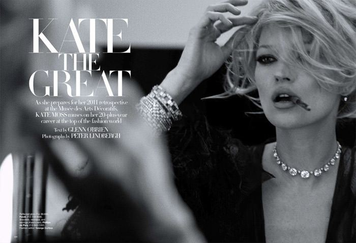 """Kate Moss photographed by Peter Lindbergh in """"Kate The Great"""" for Harper's Bazaar U.S., March 2010 1"""