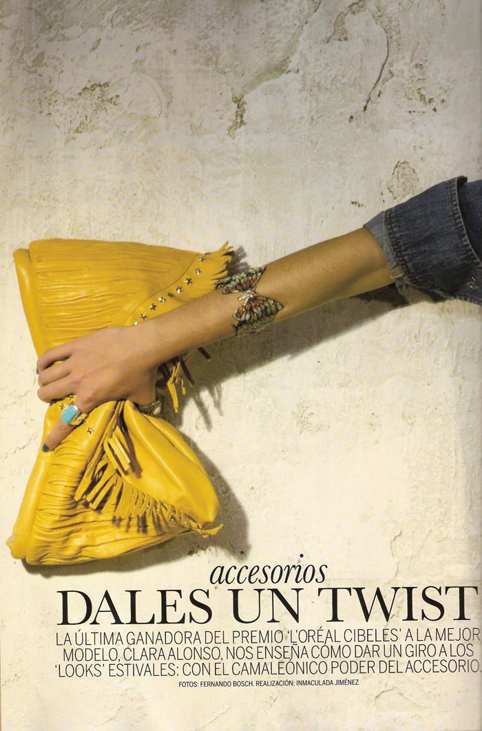 """Clara Alonso photographed by Fernando Bosch in """"Accesorios Dales Un Twist"""" for Elle España, April 2010 1"""