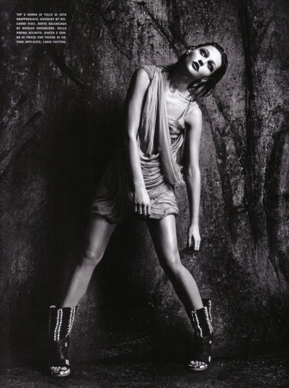 "Sasha Pivovarova photographed by Mario Sorrenti in ""Uniform: A Singular Mood"" for Vogue Italia, April 2010 10"