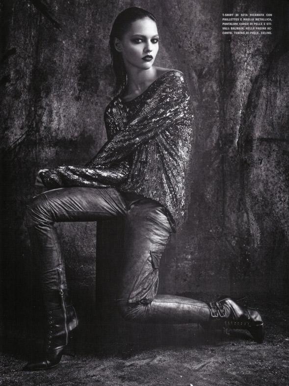 "Sasha Pivovarova photographed by Mario Sorrenti in ""Uniform: A Singular Mood"" for Vogue Italia, April 2010 11"