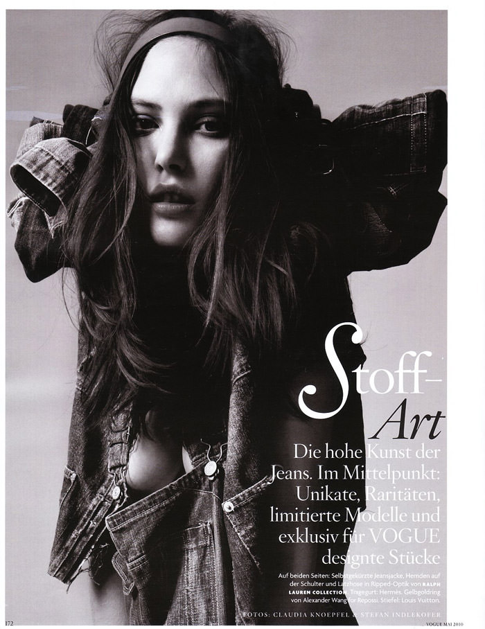 """Catherine McNeil photographed by Indlekofer & Knoepfel in """"Stoff-Art"""" for Vogue Germany, May 2010 1"""