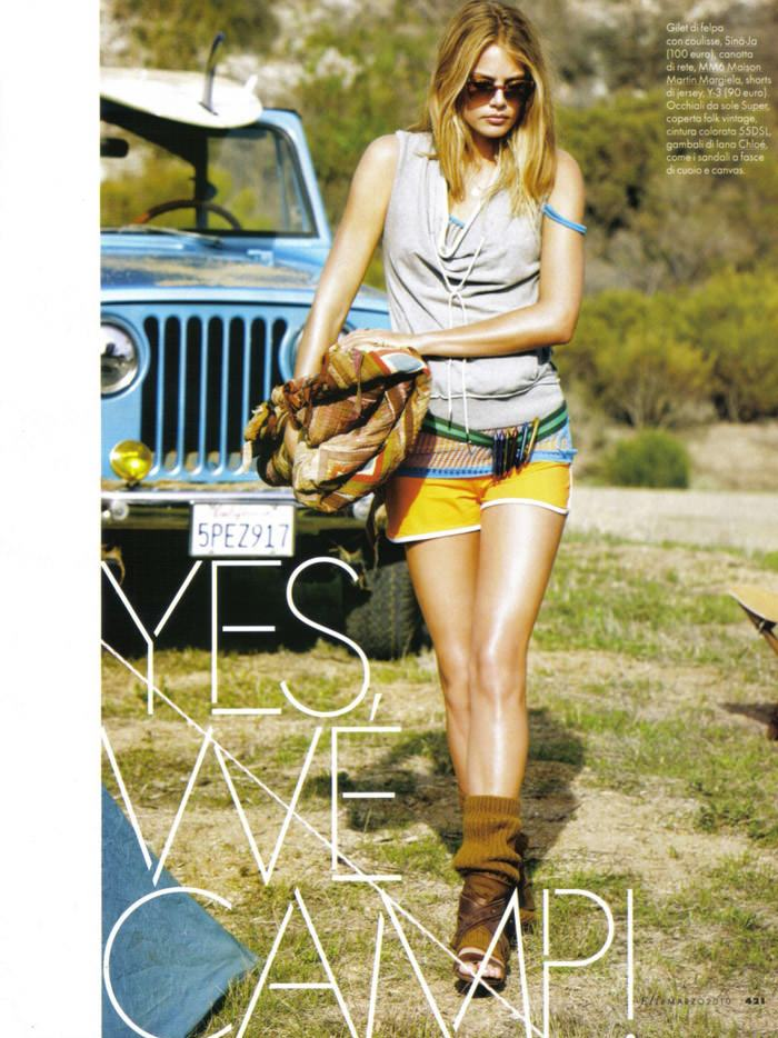 "Tori Praver photographed by Matt Jones in ""Yes, We Camp!"" for Elle Italia, March 2010 2"