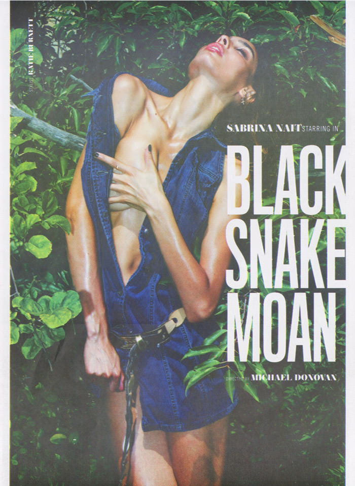 "Sabrina Nait photographed by Michael Donovan in ""Black Snake Moan"" for LoveCat Magazine: Film & Fashion"