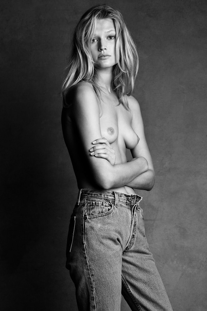 Toni Garrn (topless / semi-nude) by Patrick Demarchelier and Victor Demarchelier