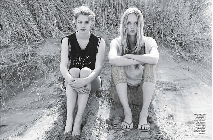Eva Hageraats and Eva Downey by Christophe Kutner for D La Repubblica