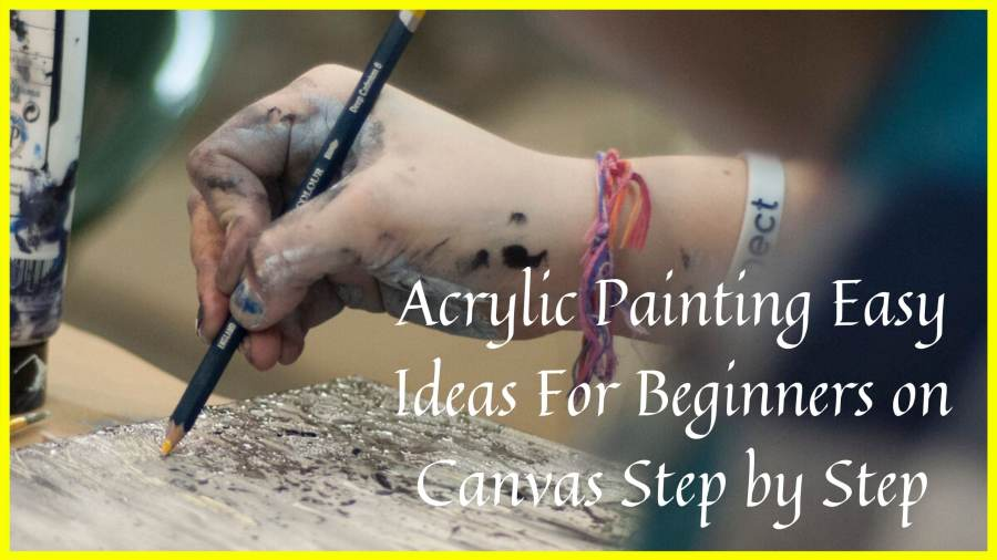 Artist learning to paint first acrylic painting