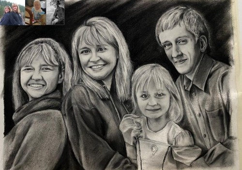 two women one baby and one men family charcoal drawing