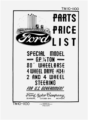 TM 10-1100 Complete Illustrated Parts Manual (Ford GP)
