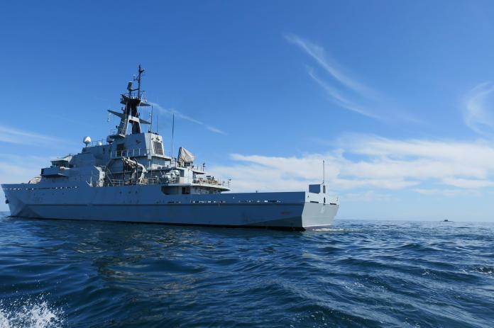Portsmouth-based HMS Mersey shadows the Russian Kilo-class submarine Krasnodar. Photo: Royal Navy