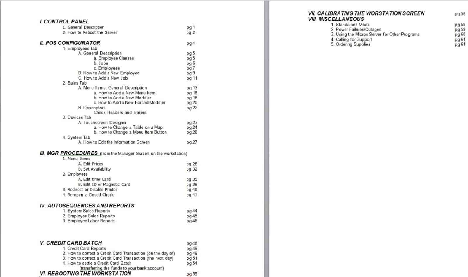 POS-Depot Micros RES 3700 Programming Manual Table of Contents