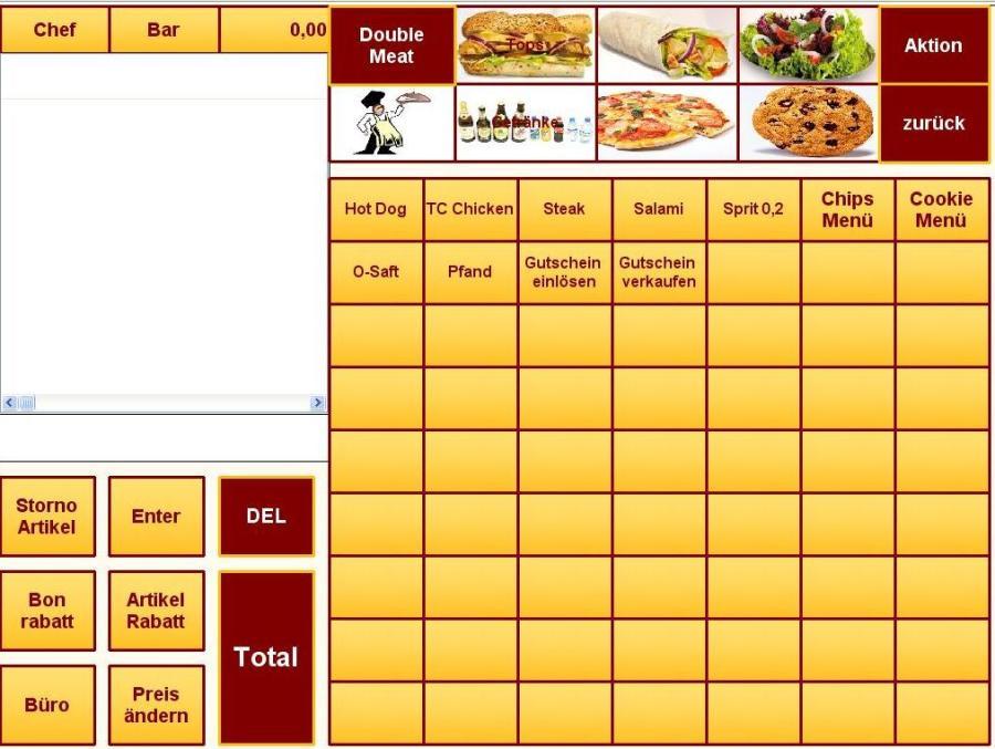 Fastfood kasse, kassen, kassensoftware, kassensystem, kassensysteme