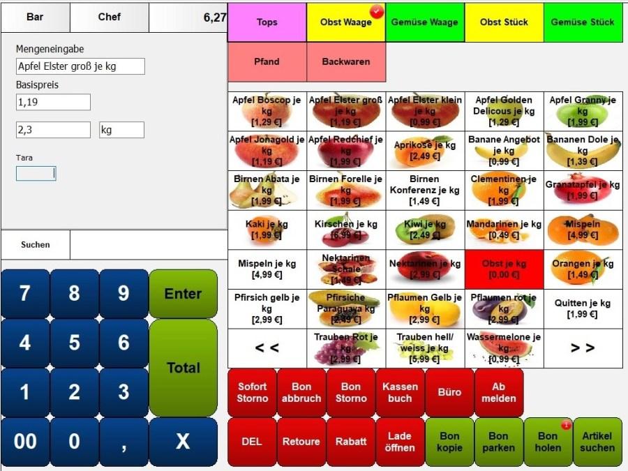 Kassensoftware für Lebensmittelhandel, Kassensystem mit Wiegen