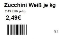Maxstore Kasse mit Artikeletikett, Etikett, Artikeletikett, Regaletikett, Etikett Scannerschiene, Barcode Etikett