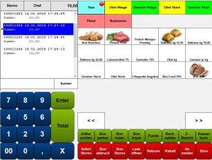 Bonstorno Kassensoftware Maxstore, Kasse Lebensmittelhandel