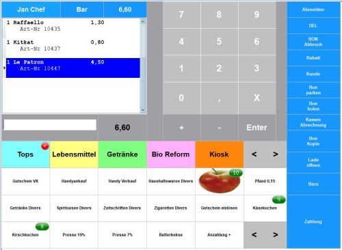 Maxstore Kassensoftware Einzelhandel, Kassenprogramm