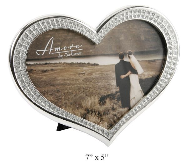 Heart Shaped Diamante Silver Plated Frame Wedding