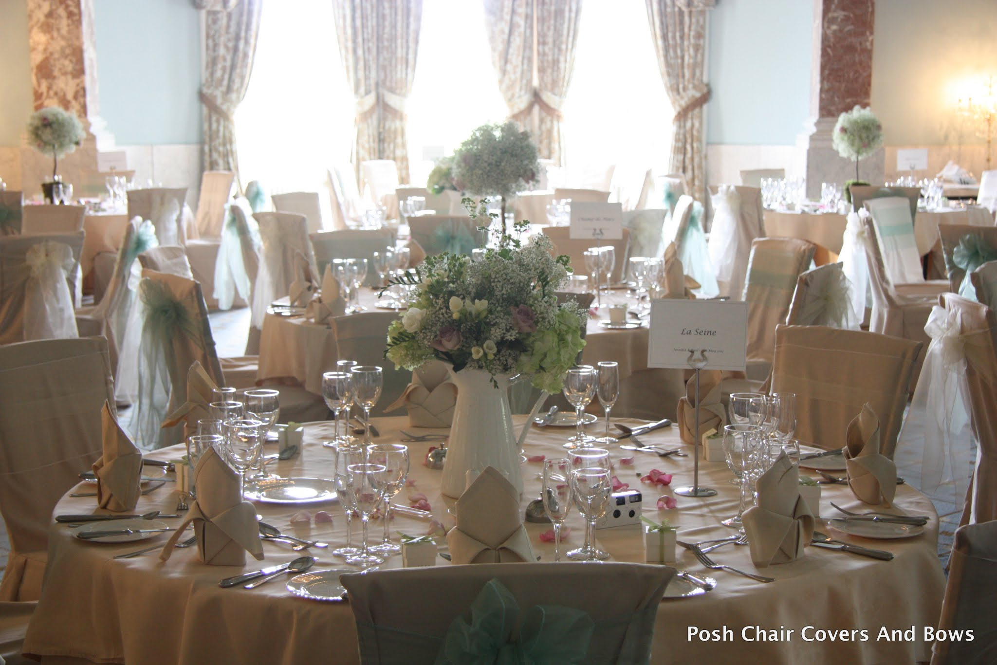 Posh Chair Covers  Bows  Chiavari Chairs Flower Wall