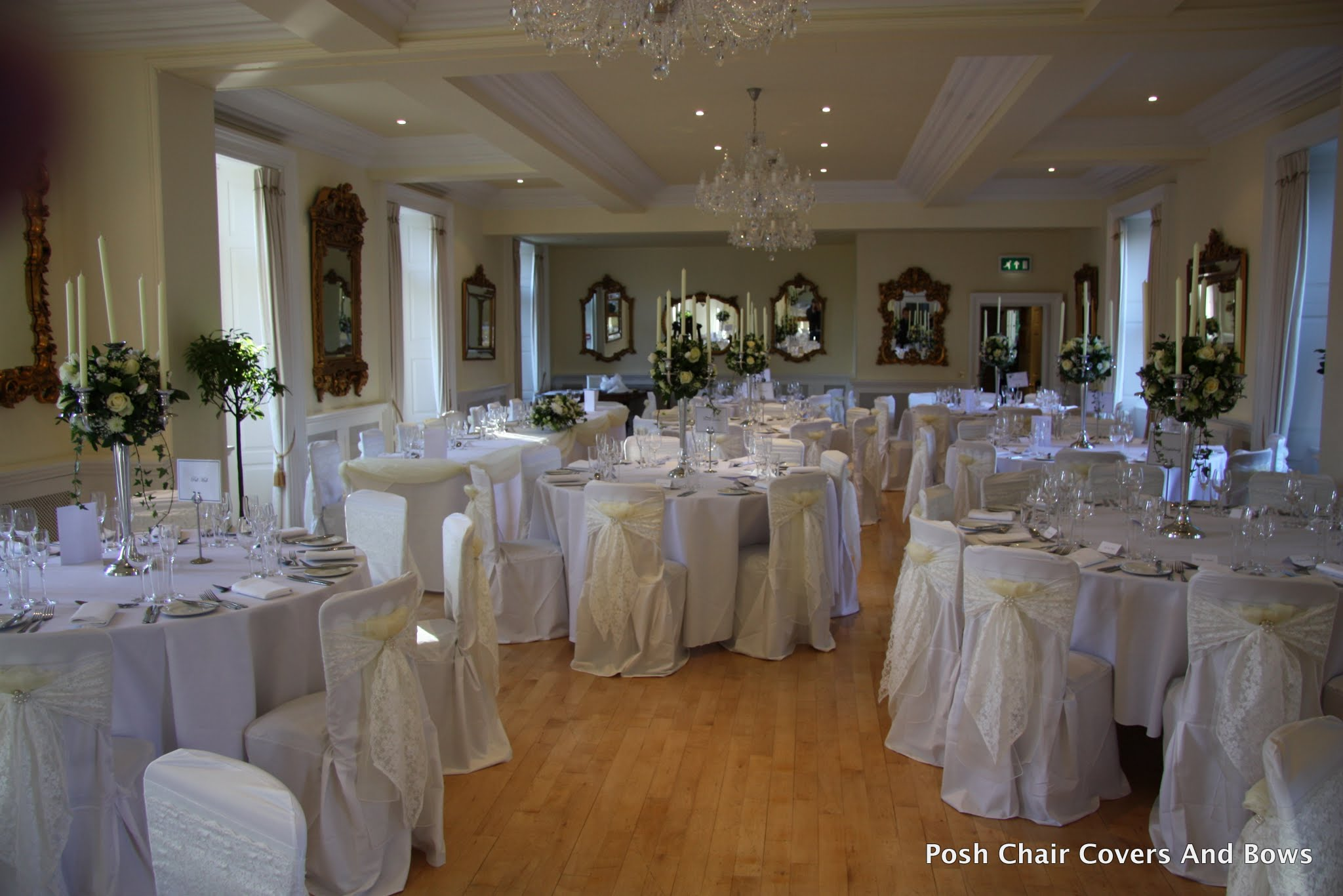 Posh Chair Covers  Bows  Flower Wall  Chiavari Chairs