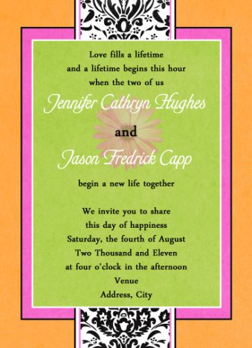Navy Green Orange Gray Love Birds In A Birch Tree Wedding Invitations
