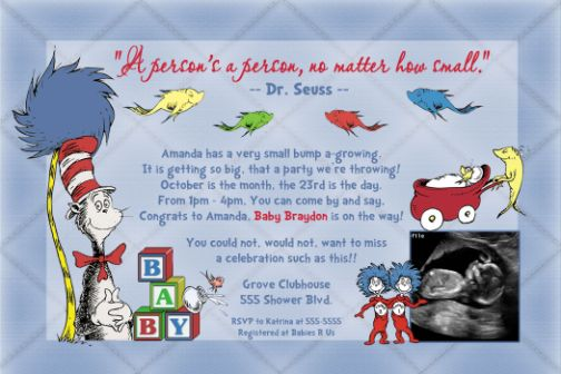 Dr Seuss One Fish Two New Baby Shower Invitation
