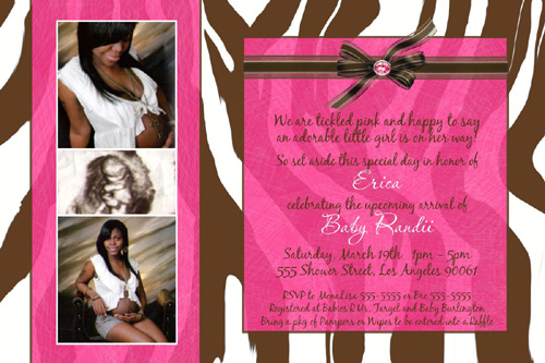 hot pink and zebra baby shower invitations, Baby shower invitations