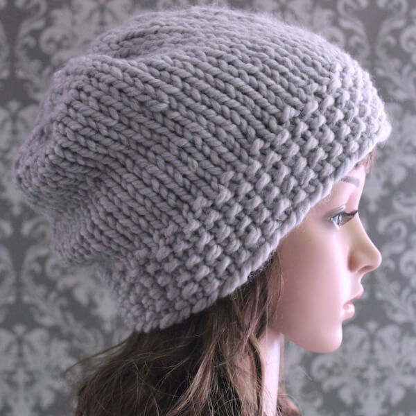 Easy Slouchy Hat Knitting Pattern