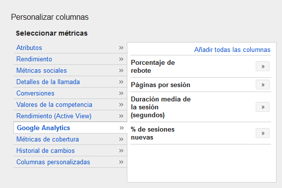 Ver columnas de analytics en adwords