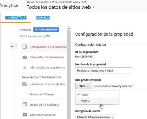 pasar de http a https en analytics