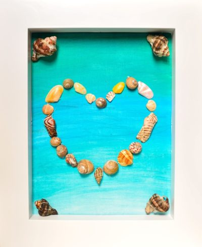 beach craft framed sea shell heart