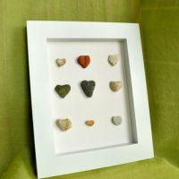 Beach Decor Idea: DIY Framed Heart Stones