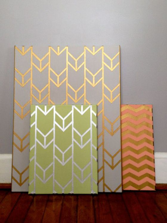 canvas diy metallic