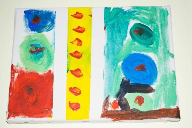 Painters tape kids canvas art