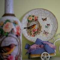 How to Decoupage A Plate And A Bottle - A Beginner's Story!
